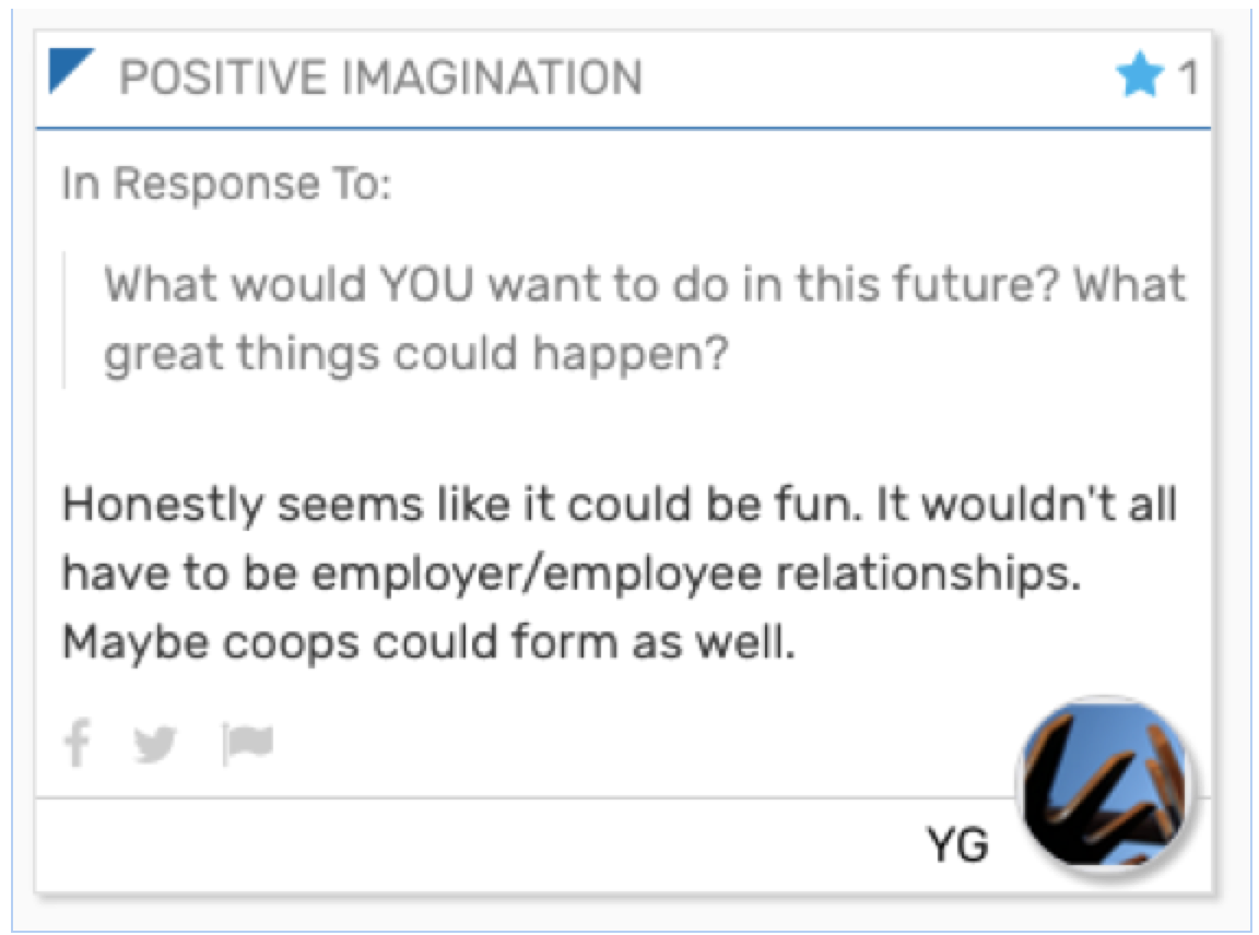 Card text reads: Honestly seems like it could be fun. It wouldn't all have to be employer/employee relationships. Maybe coops could form as well.
