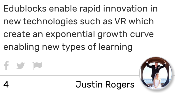 Card text reads: Edublocks enable rapid innovation in new technologies such as VR which create an exponential growth curve enabling new types of learning