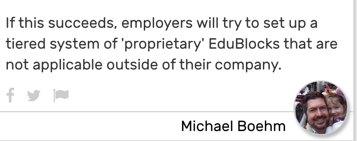 Card reads: If this succeeds, employers will try to set up a tiered system of 'proprietary' EduBlocks that are not applicable outside of their company.