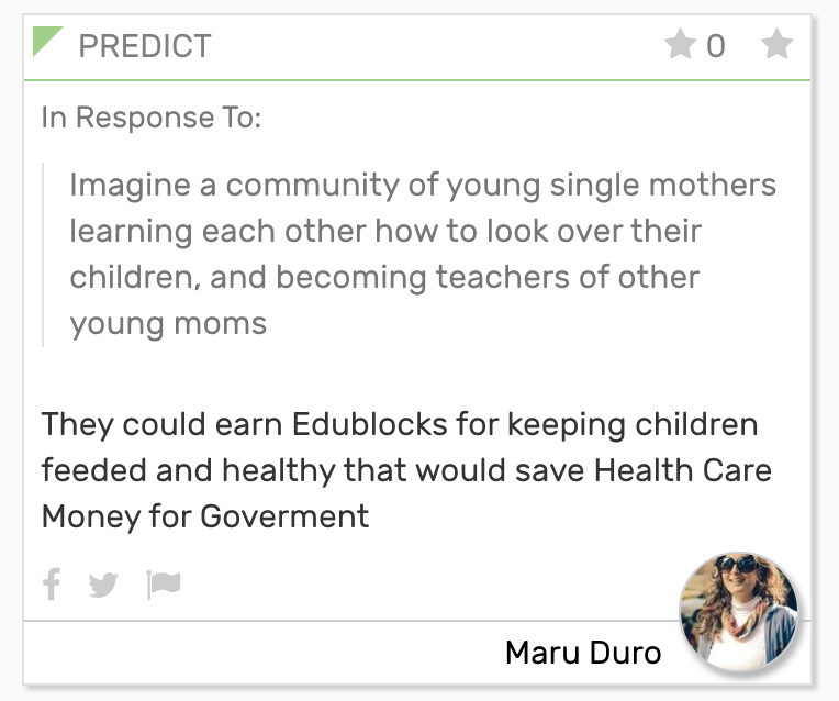 They could earn Edublocks for keeping children feeded and healthy that would save Health Care Money for Government