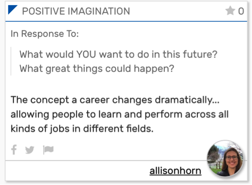 Positive Imagination card text reads: The concept of a career changes dramatically...allowing people to learn and perform across all kinds of jobs in different fields.